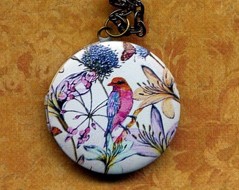 Bird and Flower Locket Necklace, Tropical Bird Gold Long Necklace, Nature Botanical Locket Necklace, vintage style locket by AnnaArt72