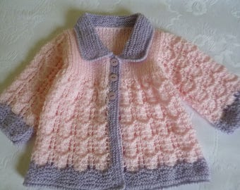 Baby Sweater, Newborn Sweater, Clothing Newborn, Knit Baby Sweater, Lace Baby Sweater, Pink and Lilac, Baby Shower Gift.