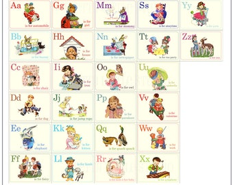 Digital | Print at Home | Storybook ABC Alphabet Mini Flash Cards Vintage Retro Style