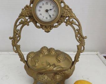 Vintage Lux Waterbury Dresser/Jewelry Box Clock Cherubs