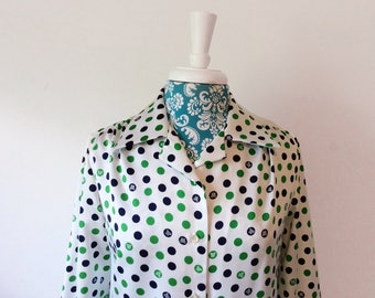 vintage 1970's blouse // mod Polka dot Lanvin top // 70's Paris New York shirt