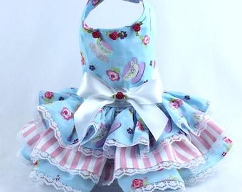 Dog Dress, Dog Harness Dress, Dog Fashion for Small Dog, Summer Dress for Dogs, Ruffle Dress, Handmade, Custom Dog Dress, Blue, Rose