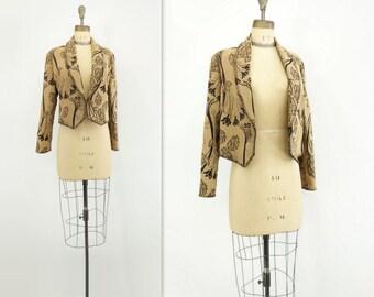 90s Cropped Jacket Boho Velvet Jacket Boho Brocade Jacket Tan Cropped Jacket Gold Brocade Jacket Gypsy Boho Jacket Black Tan Jacket m