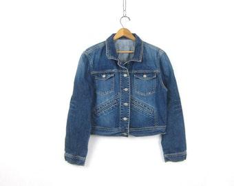 Dark Blue Denim Jean Jacket Denim Trucker Jacket Women's button down Coat Pockets Hipster Cropped jacket woman's size Medium Large
