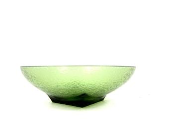 Large Green glass Bowl 1960s Table Serving Retro Kitchen Decor Fruit Bowl Retro Atomic Mid Century Ranch Home
