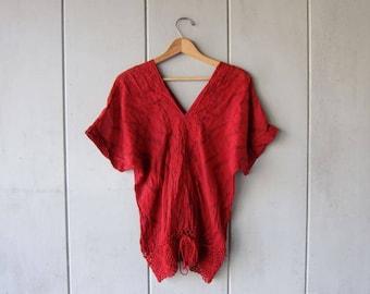 Bohemian Cotton Gauze Blouse Vintage Tribal Blouse Red Printed Crochet Blouse Boho Hippie Gypsy Slouchy Tunic Top Womens Large Medium