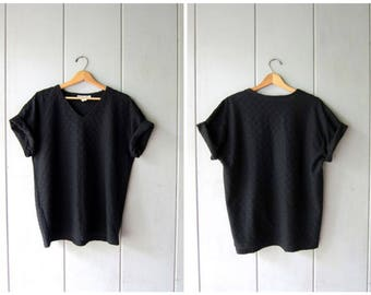 Vintage 80s Ribbed Tshirt Plain Black Shirt Basic Oversized Rib Tee Simple Everyday V Neck Slouchy Black Cotton Blend Top Womens XL
