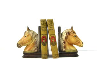 Horse Head Bookends brown Mid Century MOD home decor Vintage Bookshelf Book Ends Display Country Western Ranch Home Cabin Decor