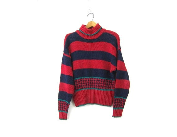 Vintage Red & Blue Cotton Sweater Turtleneck pullover top womens Preppy Ramie Striped Ski sweater Size Large
