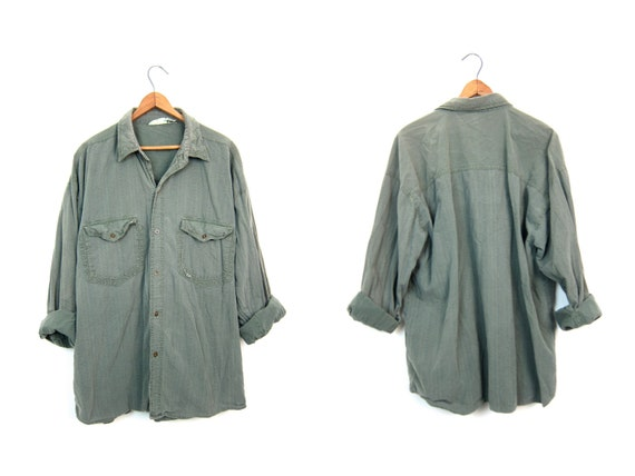 Faded Army Green Button Up Shirt 90s GITANOE Mens Long Sleeve Button Down Shirt Slouchy Preppy Grunge Top Cotton Shirt Mens Large
