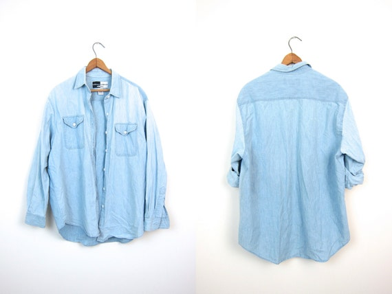 Vintage Washed Out Faded Blue Chambray Shirt Button Up Slouchy Denim Shirt Hipster Minimal Boho Bleached Jean Shirt Womens Large
