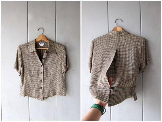 90s Cropped Blouse Beige Black OPEN BACK Button Up Top Vintage Minimal Boxy Shirt Cut Out Keyhole Back Modern Crop Top DES Womens 6 Medium