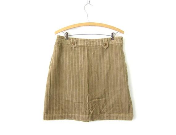 Khaki Brown Corduroy Mini Skirt 90s High Waisted Pencil Skirt Plain Basic Hipster Skirt 1990s DES Minimal Womens Preppy Skirt Size 10 Medium