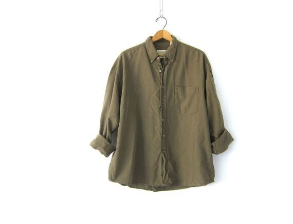 Minimal Army Green Shirt Oversized Button Up Cotton Shirt 90s Casual Boyfriend Pocket Top Long Slouchy Oxford Shirt Mens Large