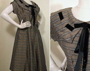 Vintage 1950s Coffee, Black and White Woven Striped Dress SZ M