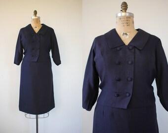 vintage 1960s suit / 60s navy suit / 60s plus size suit / 60s double breasted suit / 60s carol cook suit / 60s boxy suit / extra large XL