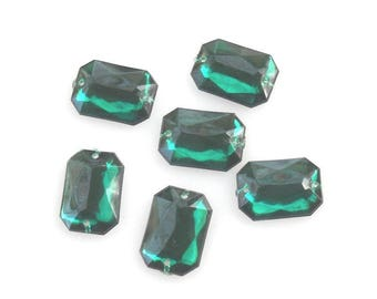 Emerald Green Sew-on Beads, Faux Crystal Flat Sew-on Beads, Faceted Rectangle Beads, Flat Back Beads, Acrylic Crystal beads, 6