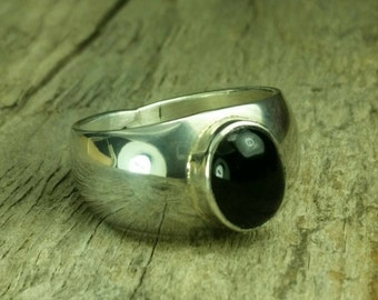 Black onyx, sterling silver, unisex rings, two sizes. Size 9 and 10 Price stated for one ring, ready to ship
