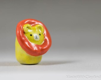 Little Lion - Terrarium Figurine - Miniature Ceramic Porcelain Animal Sculpture - Hand Sculpted