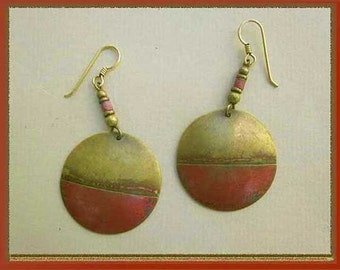 HIPPIE Girl, Boho Brass Dangle Earrings, Red Patina, Designer Signed RA, Vintage Jewelry, Women