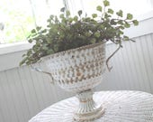 Vintage Metal Urn * Rusty Patina * Chippy White Paint * Planter * Shabby Chic * Old Farmhouse