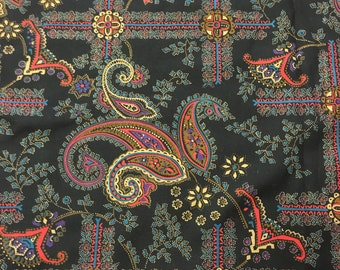 2 yards 45 wide 80s paisley cotton twill fabric