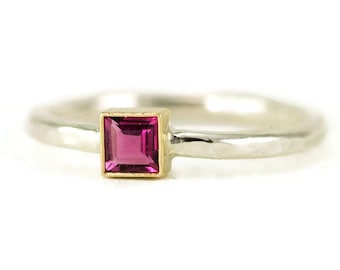 14k Gold and Sterling Ring - Princess Cut Tourmaline Ring  - Two Tone Ring