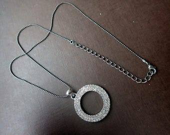 Rhinestone Crystal Circle necklace - Vintage - Silver Metal
