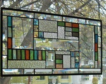 SIMPLY GEOMETRIC  Stained Glass Window Panel  (Signed and Dated)