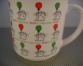 Vintage 1980s Sandra Boynton Merry Christmas Coffee Mug Cup with Red and Green Balloons by Recycled Paper Products