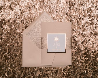 Letterpress + Foil Stamping - Ornate Rose Gold Glitter Pocket Folder Wedding Invitations - SAMPLE (KONA)