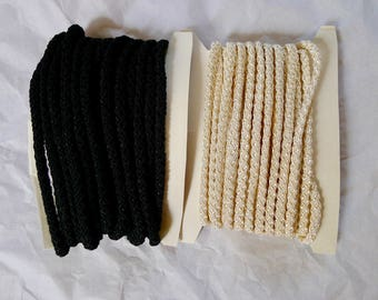 Black and white braided cord trim for millinery or dressmaking