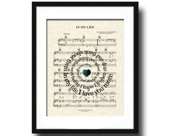 In My Life The Beatles Spiral Song Lyric Sheet Music Art Print, Custom Wedding and Anniversary Art, Names & Date, Music Wall Art