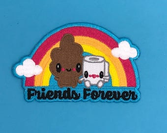 Friends Forever Poo & Toilet Paper TP Iron-On Embroidered Patch