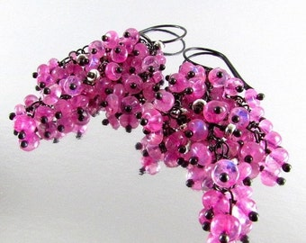 25OFF Pink Moonstone With Oxidized Sterling Silver Cluster Earrings - Waterfall