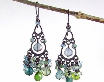 25OFF Tourmaline And Sapphire With Oxidized Sterling Silver Cluster Chandelier Earrings