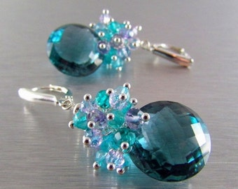 20 Off Teal Green Amethyst With Pink Amethyst, Zircon and Quartz Sterling Silver Lux Earrings