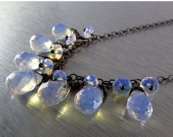 25% Off Opalite and Oxidized Sterling Silver Necklace