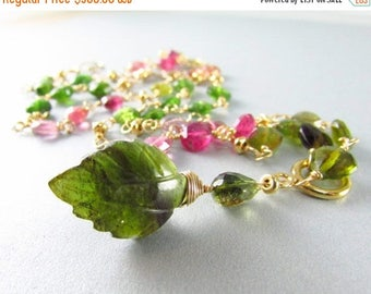 25% Off Tourmaline Necklace,  Carved Tourmaline Gold Filled Necklace