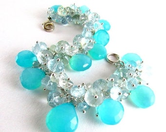 25 % OFF Aqua Chalcedony and Aquamarine Gemstone Bracelet