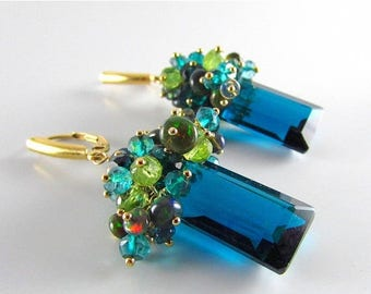 25 % OFF Peacock teal Blue Quartz With Black Opal, Peridot And Apatite Gold Filled Cluster Lever Back Earrings