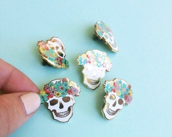 enamel pin flower crown skull brooch hard enamel pin mothers day gift for her best friend festival flair lapel pin gold metal floral skull