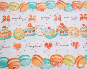 Japanese Fabric - Sweets Macaroons Doughnuts Orange - Fat Quarter (ma161201)