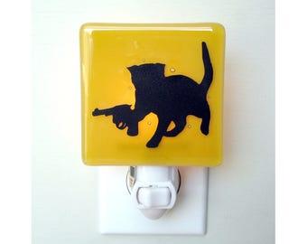 Funny Cat Night Light - Kitten With a Gun - Fused Glass Nightlight - Funny Gift - Home Decor - Night Light
