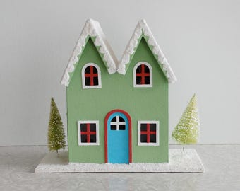 vintage putz house, vintage cardboard chipboard house, cardboard village house, gothic roof, vintage christmas decor, holiday decor, glitter