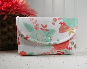 Snap Pouch, Large Snap Pouch, Cosmetic Pouch ... Piper Floral in Blush, Mint and Metallic Gold