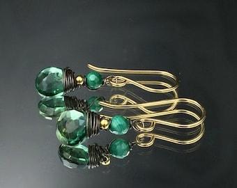 HOLIDAY SALE Emerald Green Earrings Green Quartz Malachite Gold Fill Oxidized Silver Mixed Metal Wire Wrap Gemstones Petite Minimalist Earri