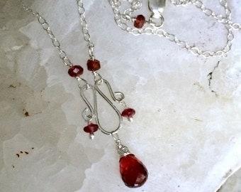 50% SALE Dainty Garnet Necklace Wire Wrap Gemstone Cluster Sterling Silver Garnet Cherry Spinel Handmade Earrings January Birthstone