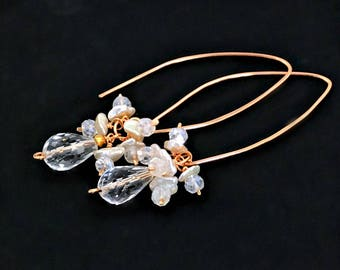 Rose Gold Fill Elongated Earrings Clear Crystal Quartz Keishi Pearl Cluster Wire Wrap Rose Gold Earrings Simple Everyday Earrings Boho Chic