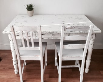 Vintage farmhouse cottage white country  dining table farm table  table display table  distressed piece